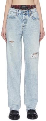 Alexander Wang 'Rival' bandana print underlayer distressed jeans