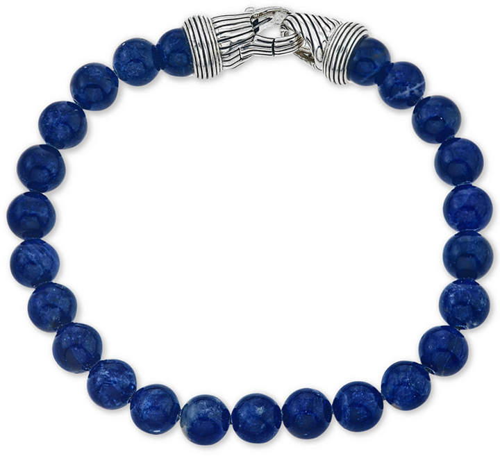 Macy's Esquire Men's Jewelry Sodalite (8mm) Beaded Bracelet in Sterling Silver, Created for