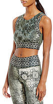 Nanette Lepore Play Active Abstract Tile Cutout Crop Top