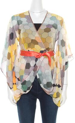 Matthew Williamson Multicolor Honeycomb Printed Silk Wrap Kimono Tunic S