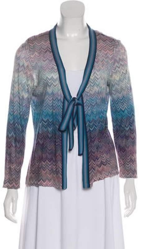 Missoni Chevron Knit Cardigan Blue Chevron Knit Cardigan