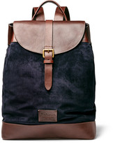 Andersons Anderson's - Leather And Suede Backpack - Navy