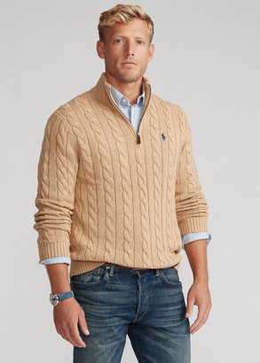 Ralph Lauren Cable-Knit Cotton Quarter-Zip Sweater