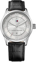 Tommy Hilfiger Men's Casual Sport Black Leather Strap Watch 42mm 1710331, Created for Macy's
