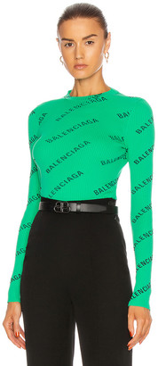 Balenciaga Long Sleeve Crew Neck Top in Green & Black | FWRD