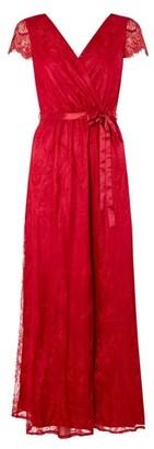 Dorothy Perkins Womens **Showcase 'Isla' Cranberry Lace Maxi Dress