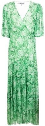 Ganni Rose Print Midi Dress