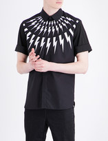 Neil Barrett Lightning-print slim-fit cotton shirt
