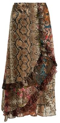 Preen by Thornton Bregazzi Clemence Floral And Snake-print Satin Devore Skirt - Womens - Multi