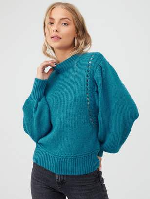 Very Balloon Sleeve Fashioning Detail Jumper - Teal