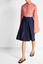 Jil Sander Navy Pleated Mini Skirt