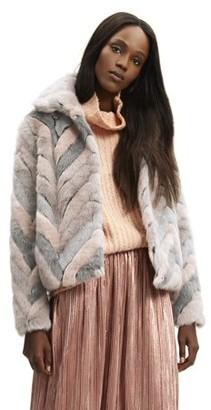 Scoop Faux Fur Multicolor Chevron Jacket Women's