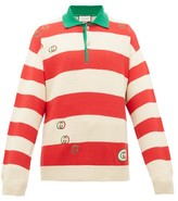 Gucci Gg Striped Cotton Polo Sweater - Mens - Red White