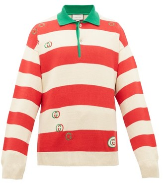 Gucci Gg Striped Cotton Polo Sweater - Mens - Red White