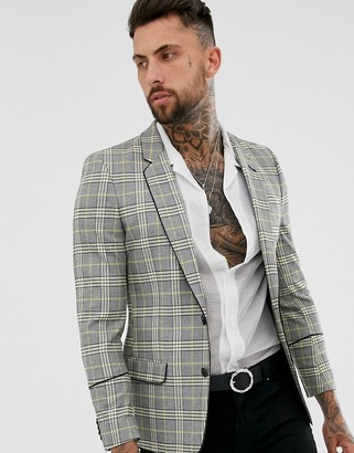 Asos Design DESIGN skinny check blazer with piping in yellow-Gray