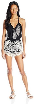 Lucy-Love Lucy Love Women's Printed Lacey Romper