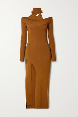 Monse Off-the-shoulder Merino Wool-blend Turtleneck Midi Dress - Brown