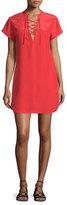 Frame Le Lace-Up Silk Shift Dress, Blood Orange
