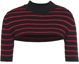 RED Valentino Cropped Striped Ribbed-knit Top