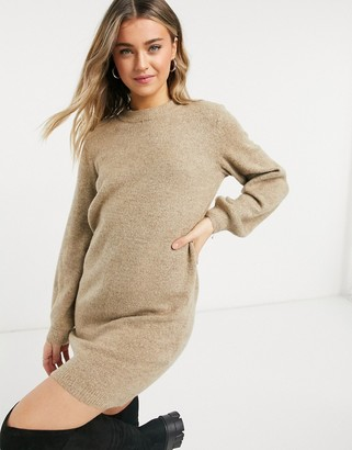 Object Knitted Dress in beige