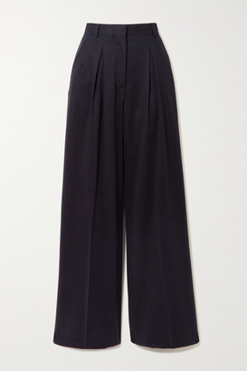 Officine Generale Sophie Pleated Wool-flannel Wide-leg Pants - Navy