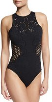 Jets Inspired Jacquard One-piece Swimsuit, Black