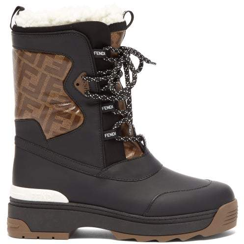 Fendi T Rex Shearling Lined Rubberised Leather Boots - Womens - Black Multi