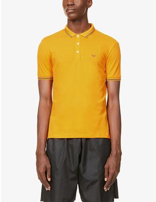 Emporio Armani Brand-print cotton-blend pique polo shirt