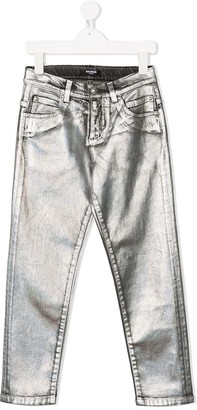 Balmain Kids Metallic Slim Fit Jeans