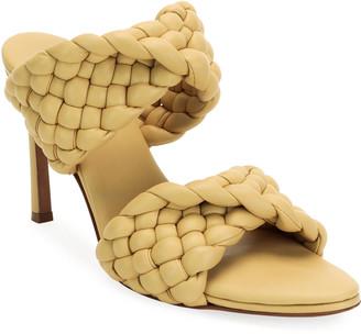 Bottega Veneta Twist 95mm Woven Leather 2-Band Sandals