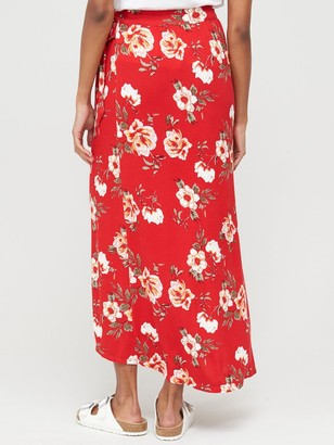 Very Petite Wrap Jersey Maxi Skirt - Red
