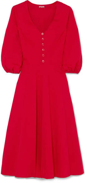 STAUD Veronica Stretch Cotton-poplin Dress - Red