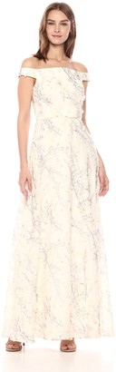 Carmen Marc Valvo Women's Off The Shoulder Gown w/Novelty 3D Fabric