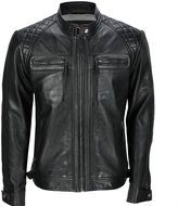 Infinity Men's Retro Quilted Real Nappa Leather Biker Jacket L