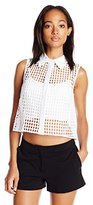 Milly Women's Mini Eyelet Crop Sleeveless Shirt