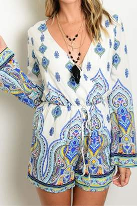 People Outfitter Blue Paisley Romper