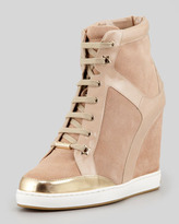 Jimmy Choo Panama Suede-Patent Leather Wedge Sneaker, Nude