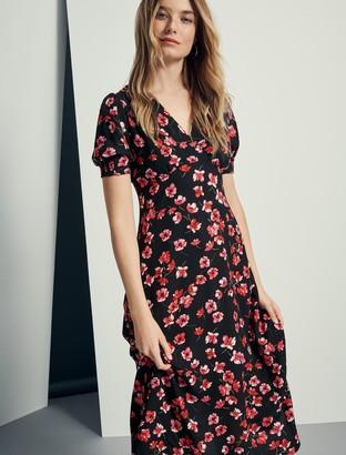 Forever New Dani Short Sleeve Midi Dress - Red Poppy Meadow - 10
