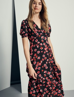 Forever New Dani Short Sleeve Midi Dress - Red Poppy Meadow - 4