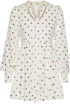 Marc Jacobs Pussy-bow Glittered Polka-dot Cady Mini Dress - White