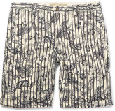 Incotex Printed Linen and Cotton-Blend Shorts