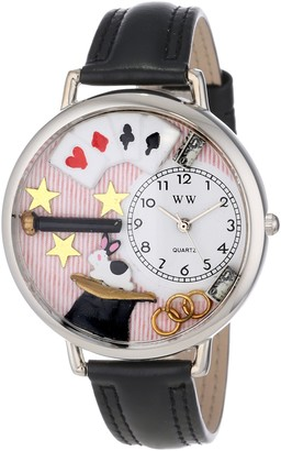 Whimsical Watches Magic Black Padded Leather and Silvertone Unisex Quartz Watch with White Dial Analogue Display and Multicolour Leather Strap U-0420006