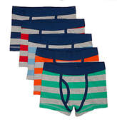 John Lewis Boys' Rugby Stripe Print Trunks, Pack of 5, Multi