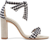 Alexandre Birman Clarita Bow-embellished Gingham Cotton And Canvas Sandals - Black