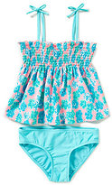 Copper Key Big Girls 7-16 Floral-Print Smocked Tankini & Bottoms Swimsuit Set