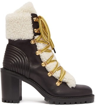Christian Louboutin Yetita 70 Shearling-trimmed Leather Ankle Boots - Black White