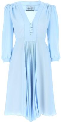 Prada Pleated V-Neck Dress