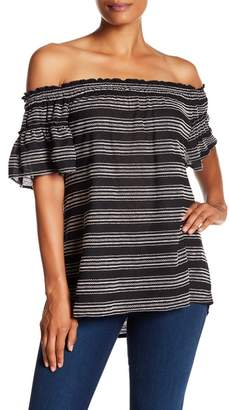 Max Studio Off-The-Shoulder Stripe Embroidered Blouse