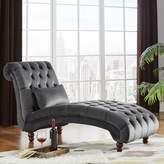 Three Posts Sagebrush Tufted Chaise Lounge Upholstery : Drak Gray