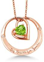 """Gem Stone King 925 Rose Gold Plated Silver """"My Heart Is Yours"""" Peridot Diamond Accent Pendant"""